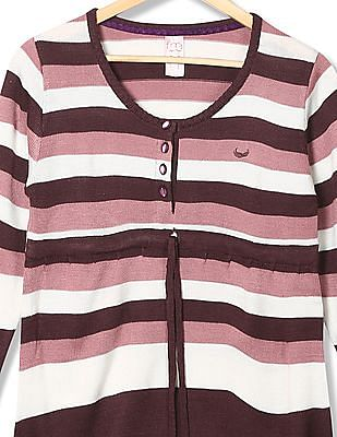 Flying Machine Women Standard Fit Patterned Striped Sweater