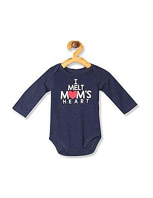 The Children's Place Blue Baby Boys Long Sleeve 'I Melt Mom's Heart' Graphic Bodysuit