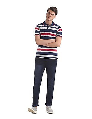 Ruggers Blue Slim Fit Striped Polo Shirt