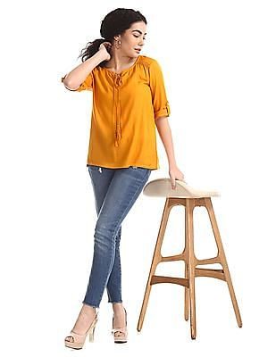 Cherokee Yellow Lace Accent Tie Up Neck Top