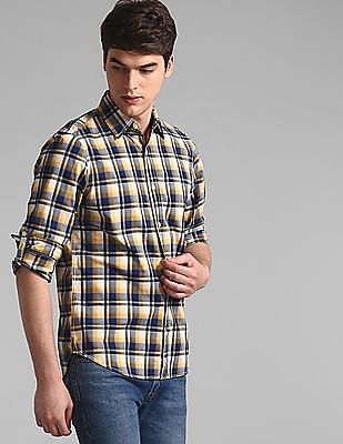 GAP Yellow Roll Up Sleeve Check Shirt