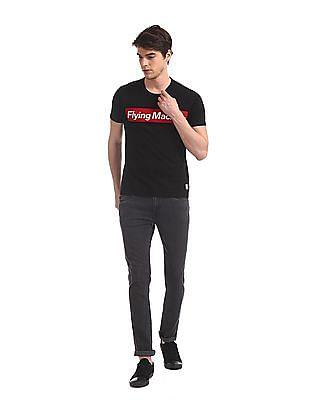 Flying Machine Black Crew Neck Brand Print T-Shirt
