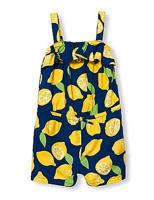 The Children's Place Toddler Girl Blue Sleeveless Lemon Print Ruffle Woven Romper