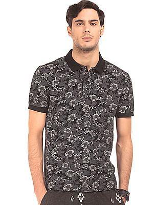 Ed Hardy Floral Print Cotton Pique Polo Shirt