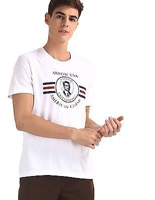 Arrow Sports White Crew Neck Brand Print T-Shirt
