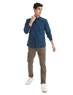 Cherokee Blue Mitered Cuff Solid Shirt