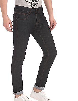 Flying Machine Black Jackson Skinny Fit Dark Wash Jeans