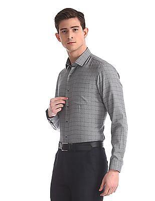 Arrow Newyork Grey Mitered Cuff Tonal Check Shirt