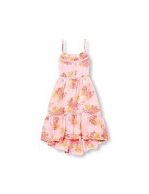 The Children's Place Girls Sleeveless Floral Print Crochet Trim Hi-Low Dress