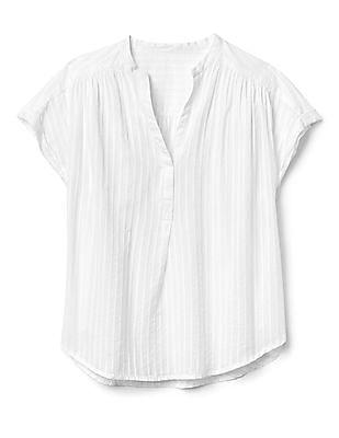 GAP Women White Short Sleeve Popover Shirt In Stripe Dobby