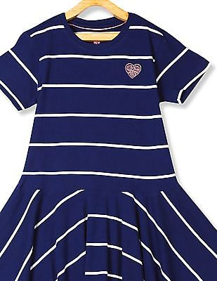 U.S. Polo Assn. Kids Blue Girls Striped Fit And Flare Dress
