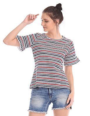 U.S. Polo Assn. Women Striped Short Bell Sleeve Top