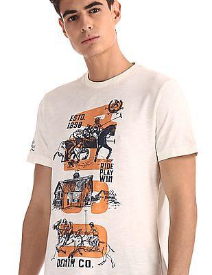 U.S. Polo Assn. Denim Co. White Crew Neck Graphic T-Shirt