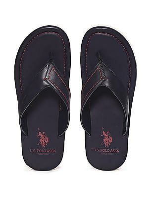 U.S. Polo Assn. Blue V-Strap Contrast Sole Sandals