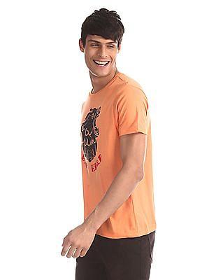 Colt Orange Crew Neck Printed T-Shirt