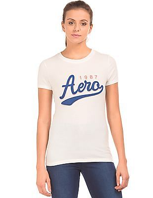 Aeropostale Appliqued Front Round Neck T-Shirt