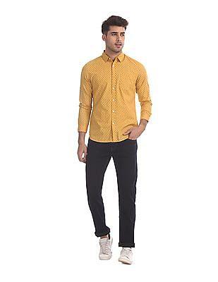 Flying Machine Yellow Cotton Printed Shirt