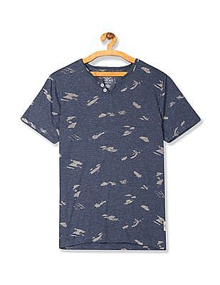 Cherokee Notch Round Neck Printed T-Shirt