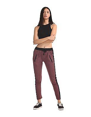 SUGR Red Zip Pocket Heathered Track Pants