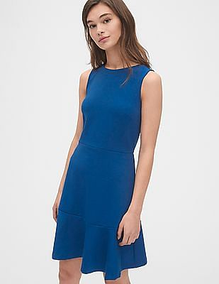 GAP Women Blue Fit and Flare Flutter Dress In Ponte