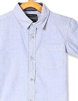 Cherokee Boys Spread Collar Short Sleeve Shirt