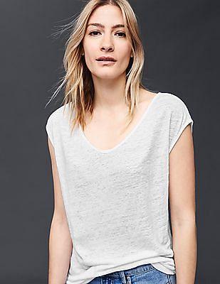 GAP Women White Linen Cap Sleeve Tee