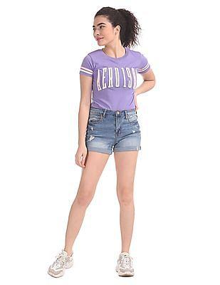 Aeropostale Purple Crew Neck Band Applique T-Shirt