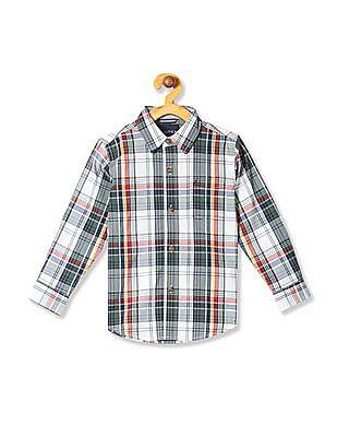 Nautica Kids Boys Plaid Long Sleeve Woven Shirt