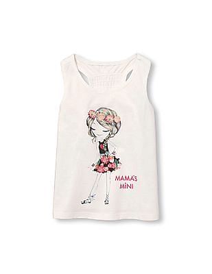 The Children's Place Toddler Girl Matchables Sleeveless Glitter Graphic Racer-Back Top
