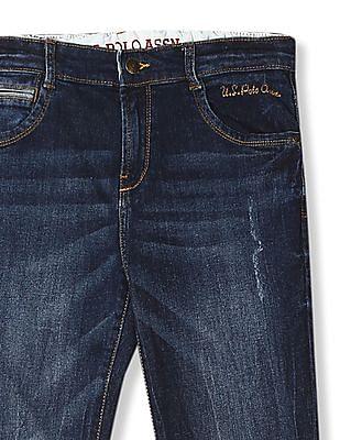 U.S. Polo Assn. Kids Blue Boys Skinny Fit Stone Wash Jeans