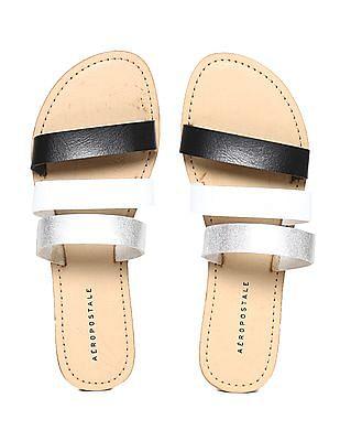 Aeropostale Beige Triple Strap Sandals