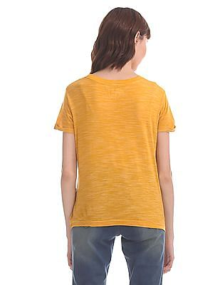 Flying Machine Women Yellow Ribbed Neck Heathered T-Shirt