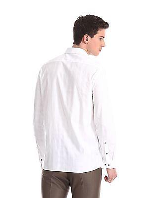 Arrow Newyork White Slim Fit Patterned Shirt
