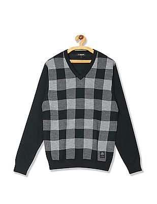 U.S. Polo Assn. V Neck Check Sweater