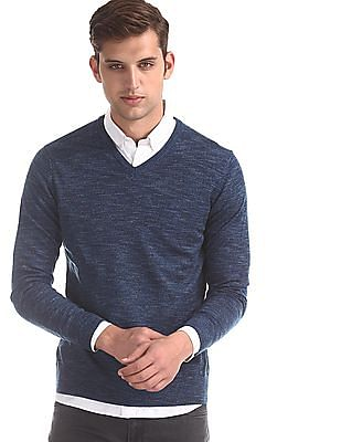 Flying Machine Blue V-Neck Heathered Sweater