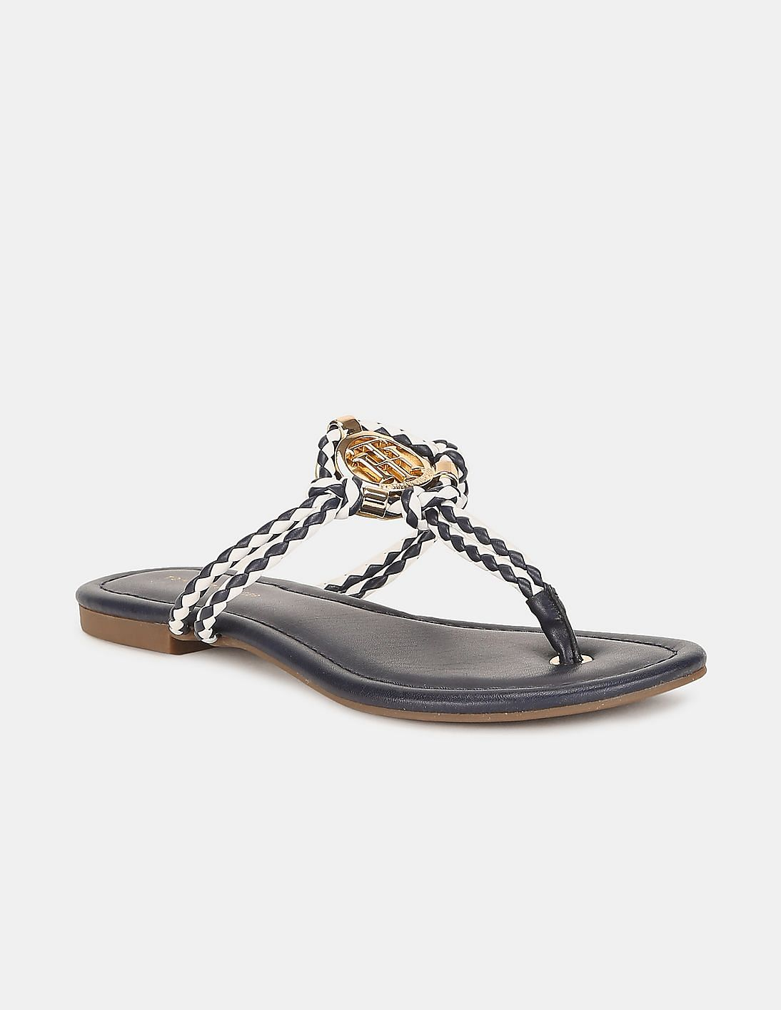 Women Blue Braided T-Strap Flat Sandals