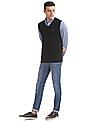 Arrow Sports Regular Fit Ribbed Neck Sweater Vest