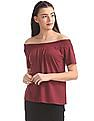 SUGR Solid Smocked Off-Shoulder Top