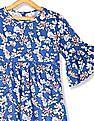 U.S. Polo Assn. Kids Blue Girls Bell Sleeve Printed Top