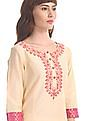 Anahi Beige Round Neck Embroidered Kurta