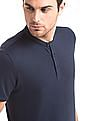 True Blue Slim Fit Mandarin Collar Polo Shirt