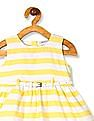 Donuts Yellow Girls Horizontal Stripe Belted Dress
