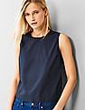 GAP Women Blue Poplin Sleeveless Top