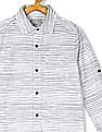 The Children's Place Boys White Long Roll-Up Sleeves Striped Poplin Button-Down Shirt