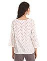Cherokee White Notched Round Neck Printed Top