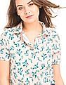 Elle Spread Collar Floral Print Crop Top