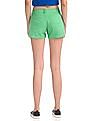 Flying Machine Women Mid Waist Solid Woven Shorts