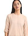 Cherokee Beige Twisted Knot Sleeve Shimmery Top