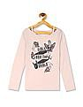 The Children's Place Girls Long Sleeve Cut-Out Neck Embellished Graphic Top