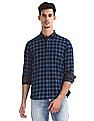 Roots by Ruggers Blue Cutaway Collar Check Shirt